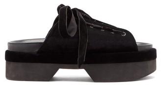 Simone Rocha Lace-up Velvet Platform Sandals - Black