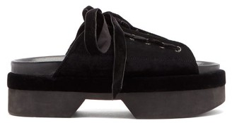 Simone Rocha Lace-up Velvet Platform Sandals - Womens - Black