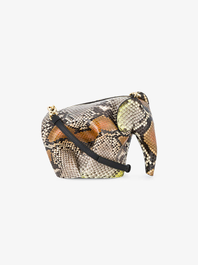 Loewe Brown Elephant Mini Python Bag