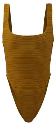 Mara Hoffman Idalia Pleated Recycled-fibre Swimsuit - Dark Green