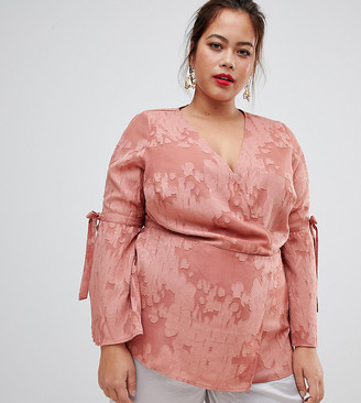 Lovedrobe wrap front blouse in rose