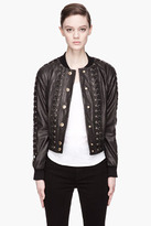 Balmain PIERRE Black Leather laced up Bomber