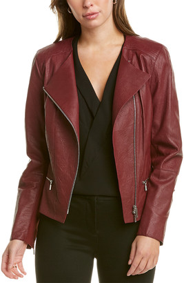 Lafayette 148 New York Trista Silk-Blend Lined Leather Jacket