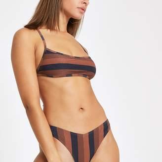River Island Womens Brown stripe square neck tie back bikini top