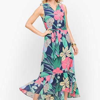 Talbots Voile Hibiscus Maxi Dress