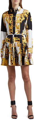 Versace Baroque-Print Pleated Shirtdress