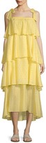 MDS Stripes Tiered Ruffle Eyelet Dress