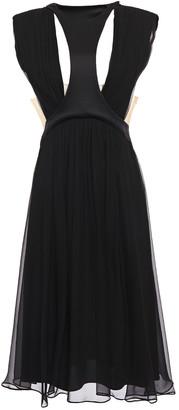 Alberta Ferretti Crepe-paneled Gathered Silk-georgette Midi Dress