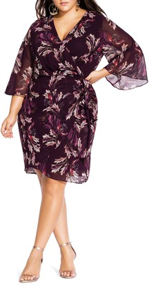 City Chic Floral Faux Wrap Dress