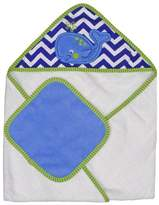 Neat Solutions Single Applique Print Woven Terry Hooded Towel and Washcloth Set, Whale by