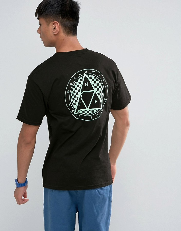 HUF T-Shirt With Checkered Triple Triangle Back Print