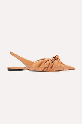 Jimmy Choo Annabel Knotted Patent-leather Slingback Point-toe Flats - Tan