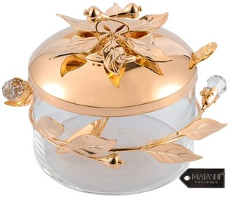 Matashi Home Decorative Dining Tabletop Showpiece Rose Gold Sugar Bowl, Honey Dish, Candy Dish Glass BowlFlower and Vine Design with Spoon