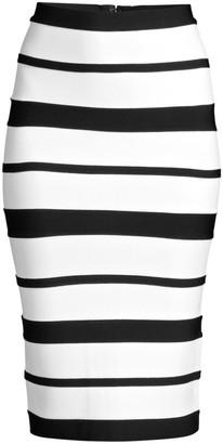 Herve Leger Striped Bandage Pencil Skirt
