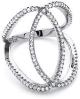 Seta Jewelry .50 Tcw Cubic Zirconia Interlocking Loop Cocktail Ring In Platinum Over Sterling Silver.