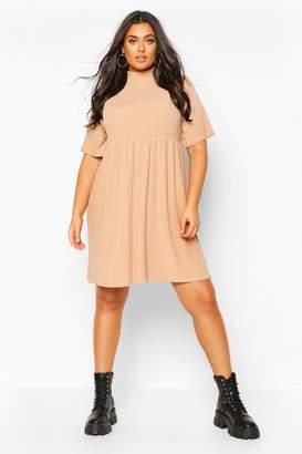 boohoo Plus High Neck Rib Knit Smock Dress