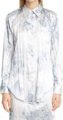 Acne Studios Sophi Shiny Floral Print Shirt