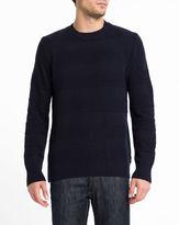 Edwin Navy Stripe Standard Wool Blend Round-Neck Sweater
