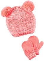Carter's Toddler Girl Pink Double-Pom Hat & Mittens Set