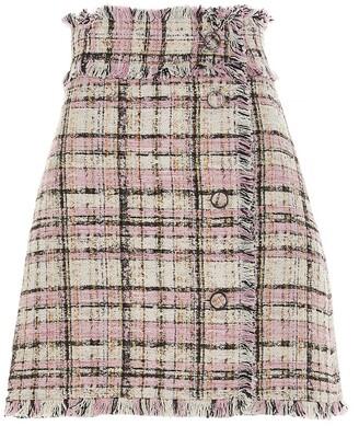 MSGM Frayed Edge Tweed Mini Skirt