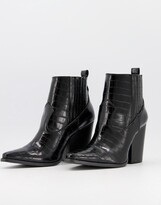 Thumbnail for your product : Qupid heeled western ankle boots in black croc