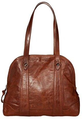 Frye Melissa Domed Zip Satchel (Beige) Handbags