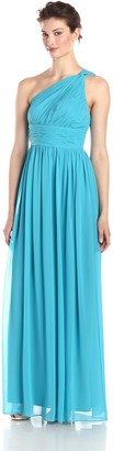 Donna Morgan Women's Rachel Long One Shoulder Chiffon Dress