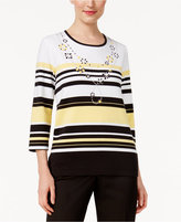 Alfred Dunner Petite City Life Embellished Striped Top