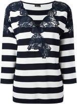 Ermanno Scervino lace trim striped sweatshirt