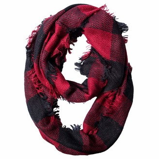 Chalier Winter Ladies Scarves Shawl Oversized Ladies Tartan Checked Scarf Blanket Christmas Gifts for Women (Red Loop Womens scarf)