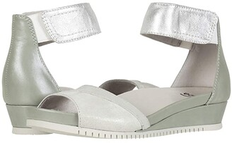 Earth Sagittarius (Light Silver Natural Print/Sea Foam Silky Suede) Women's Sandals