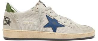 Golden Goose Ball Star Distressed Suede Trainers - Mens - Silver Multi