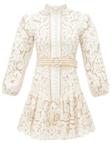 Zimmermann Edie Floral Embroidered Linen-blend Mini Dress - Womens - Ivory