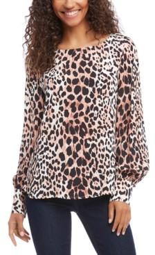 Karen Kane Leopard-Print Blouson-Sleeve Top