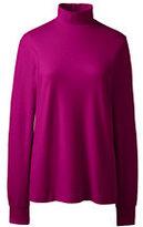 Lands' End Women's Petite Relaxed Cotton Mock Turtleneck-Gemstone Teal