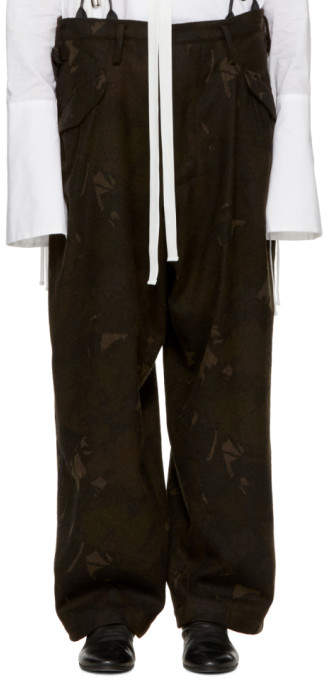 Y's Ys Black Camo Flannel Trousers