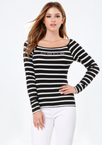 Bebe Logo Striped Tee