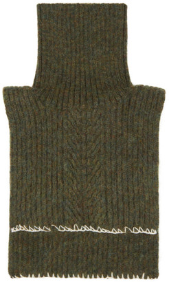 Maison Margiela Green Wool and Mohair Neck Warmer Scarf