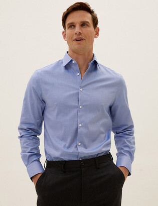 Marks and Spencer Slim Fit Cotton Shirt with Stretch