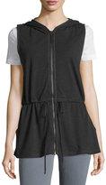 Max Studio Hooded Sleeveless Vest, Black