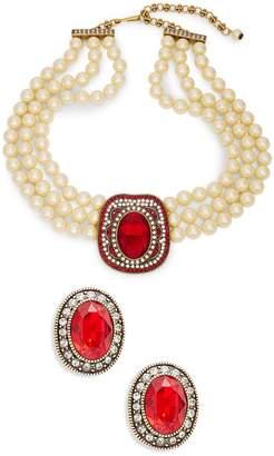 Heidi Daus 2-Piece Crystal & Rhinestone Oval Beaded Necklace & Earring Set