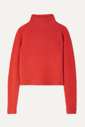 The Elder Statesman Highland Cropped Cashmere Turtleneck Sweater - Orange