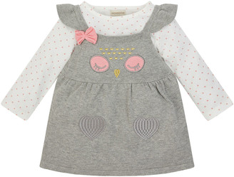 Monsoon Newborn Baby Owl Knit Dress and Top Set Grey