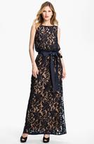 Tadashi Shoji Lace Overlay Blouson Gown