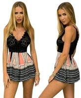 Pooqdo Women Jumpsuit Lace Printing V Neck Strap Sleeveless Rompers Playsuit (M, )