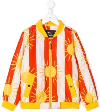 Mini Rodini Sun And Striped Print Bomber Jacket