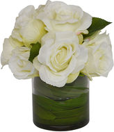 The French Bee Roses w/ Orchid Foliage in Vase, Faux