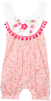 Tutus by Tutu AND Lulu Pink & White Stripe Pom-Pom Romper - Infant & Toddler