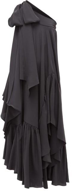 Rochas One-shoulder Asymmetric Ruffled Silk Gown - Black