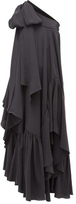 Rochas One-shoulder Asymmetric Ruffled Silk Gown - Black